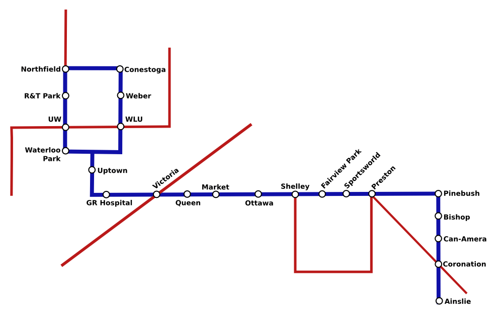 Transit map of LRT and streetcars