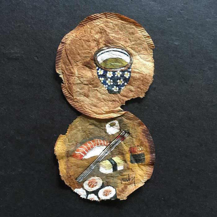 arte em saquinhos de chá
