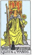 "Carta de Tarô ""Queen of Wands"" (Rainha das Varas)"