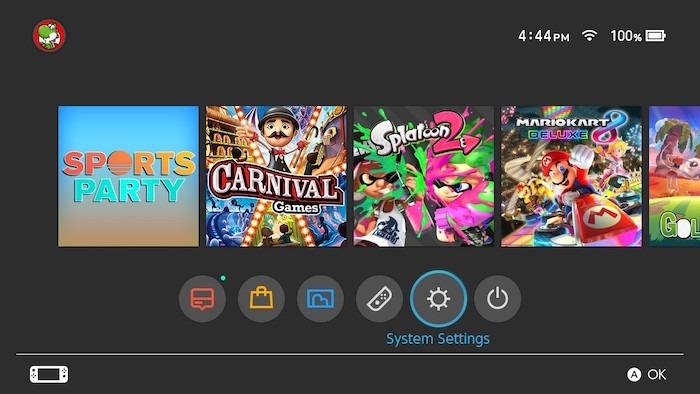 Configurações do sistema de transferência Nintendo Switch Microsd