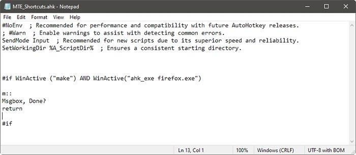 Atalhos específicos de aplicativos com destino da janela Ahk definido