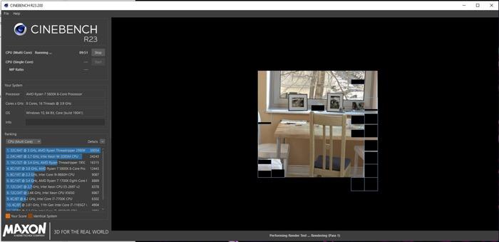 Teste de Cpu Cinebench de Cpu de Referência iniciado