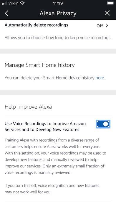 Não quer que os funcionários da Amazon escutem suas gravações?  Você pode optar por sair da pesquisa da Amazon.