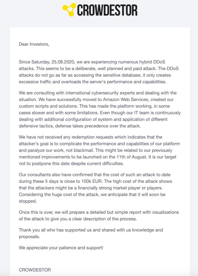 S4F Crowdestor DDoS Problemas @ SavingsForFreedom