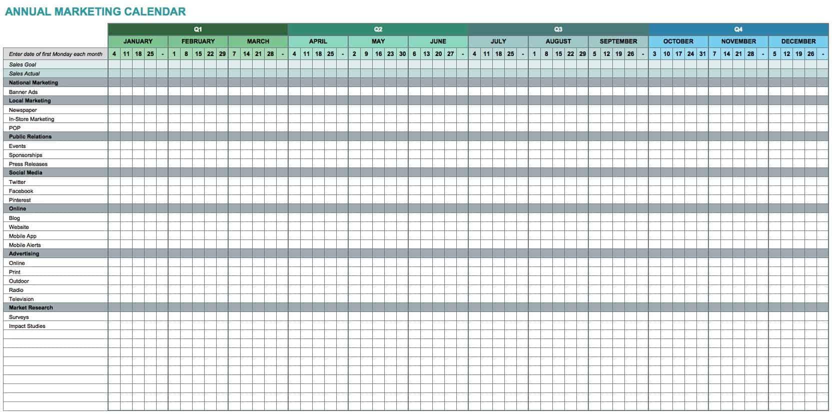 9 Modelos De Calendario De Marketing Para Excel Gratuitos