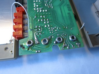 Input jacks. Guess this design pre-dates those insulated jacks that are standard now. At least these are VERY solidly soldered onto the main PCB..