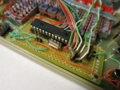 Super Probe circuitry. Most of the passive components (resistors, caps) are SMD variants mounted on the lower side of the perfboard.