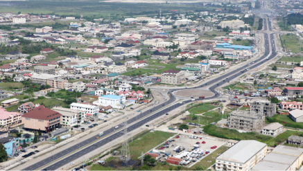 The Lekki-Epe Expressway cuts through the peninsula, connecting built-up areas of Lekki with other parts of Lagos. Credit: Rendel