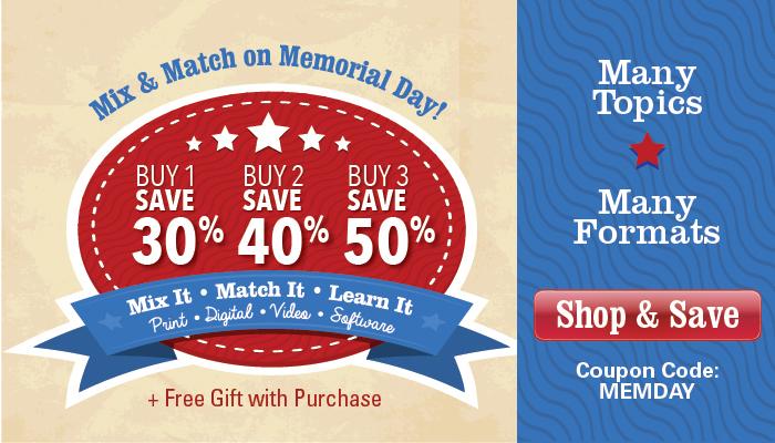 Memorial Day Sale: Buy 1, Save 30% -- Buy 2, Save 40% -- Buy 3, Save 50%