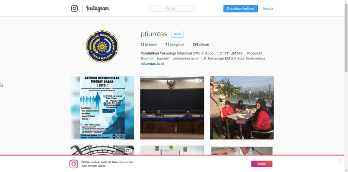 Screen Capture dari halaman Instagram PTI UMTAS