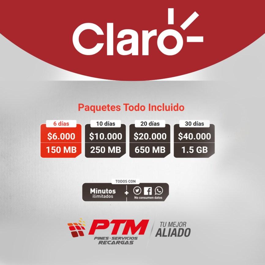 Paquetes CLARO!!! - PTM - Pines servicios recargas
