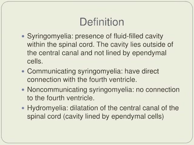 Symptoms of Syringomyelia