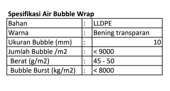 spesifikasi bubble wrap