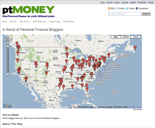 personal finance blogger map