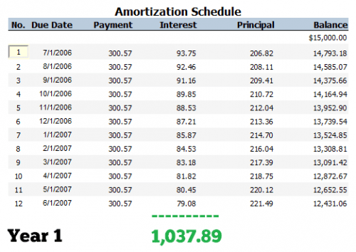 Car Loan Amortization Schedule - Year 1