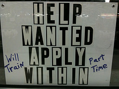 Part Time Job Help Wanted Sign