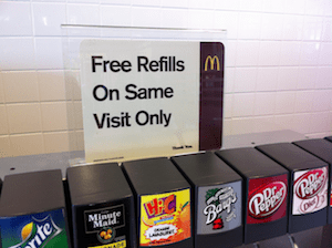 Free Refill Sign for People Who Steal