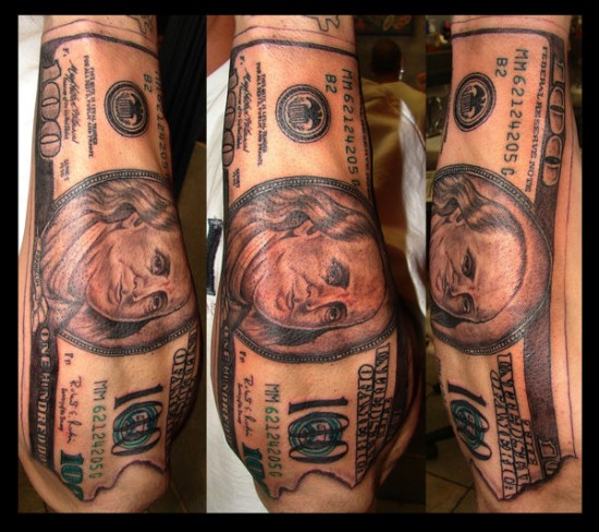 100 Dollar Bill Tattoo