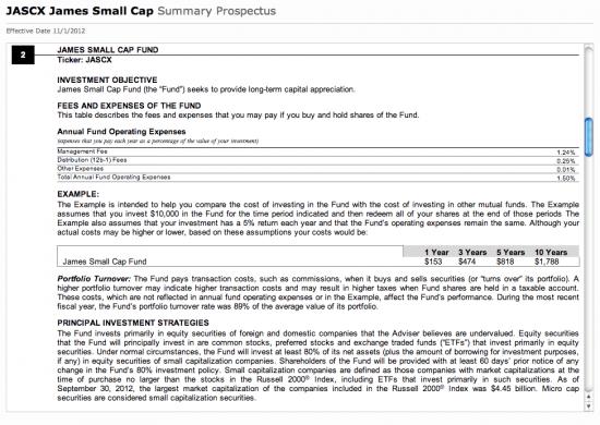JASCX Mutual Fund Prospectus