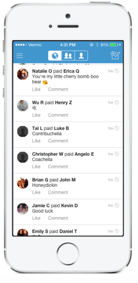 Venmo on iPhone Live Feed