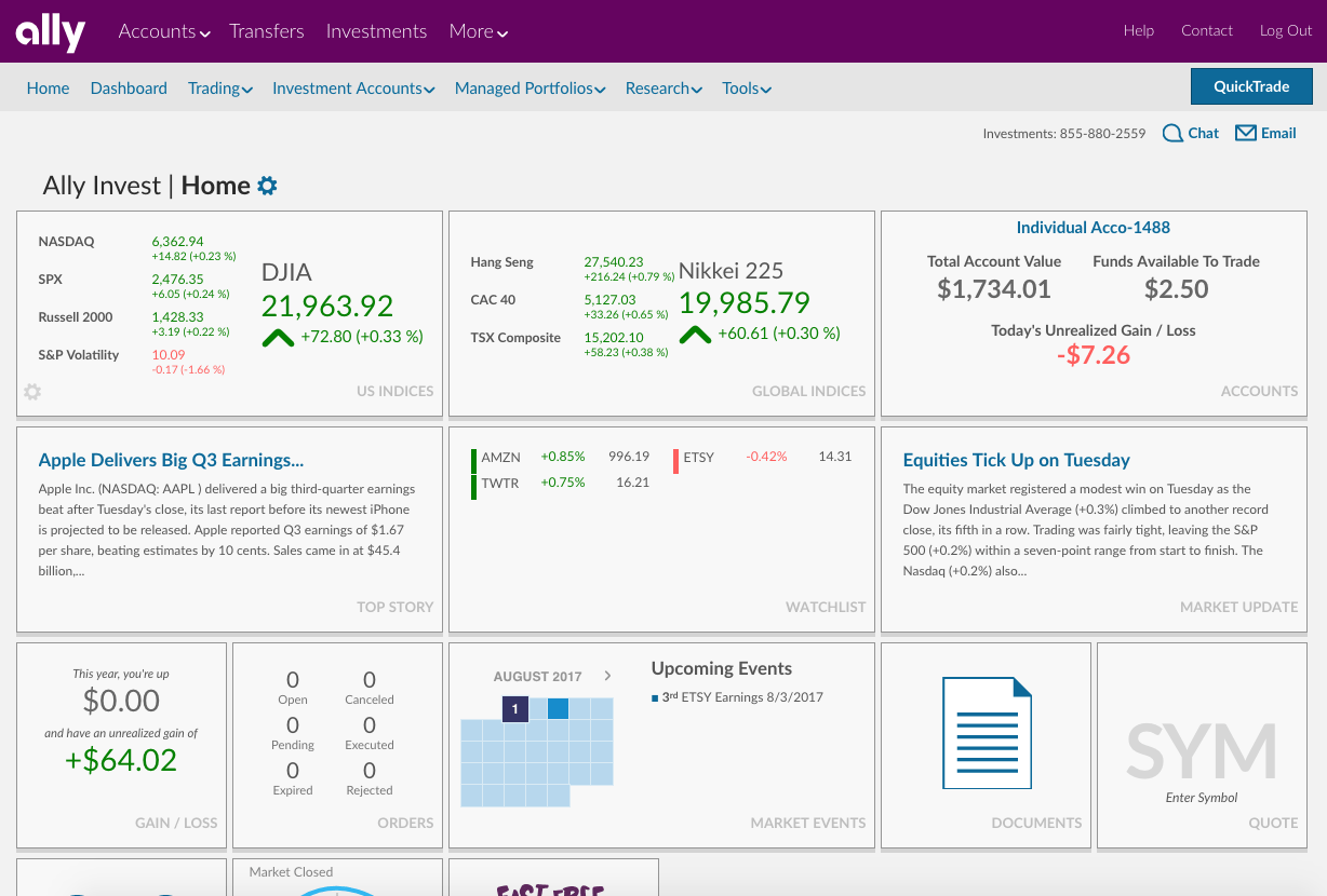 Ally Invest Live Dashboard
