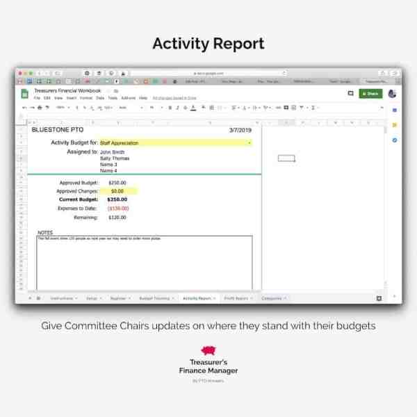 PTO finance manager activity report