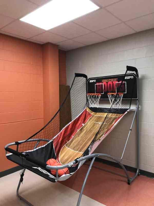 basketball game in teachers lounge