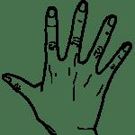 【手 – 白黒線画】右手(手背面)- リハイラスト