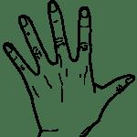 【手 – 白黒線画】左手(手背面)- リハイラスト