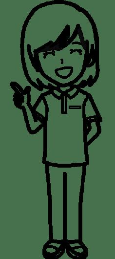 【女性ポーズ:ポロシャツ 指差しポイント - 白黒線画】リハビリセラピスト(PT・OT・ST)- リハイラスト