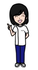 (漫画風の可愛い感じの無料イラスト)女性ポーズ:指差しポイント(白黒線画・カラー)- リハビリセラピスト(PT・OT・ST)- リハイラスト