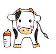 【季節イラスト】年賀状イラスト:丑年用牛のボールペン・色鉛筆手書きイラスト(赤ちゃん子牛) - PNG画像ファイル:リハイラスト(リハビリ専門家のためのイラスト無料素材集)