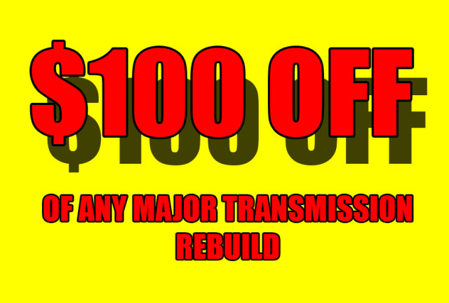 $100 Off any Transmission Rebuild