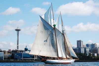The schooner Adventuress sails past downtown Seattle. Photo courtesy of Sound Experience