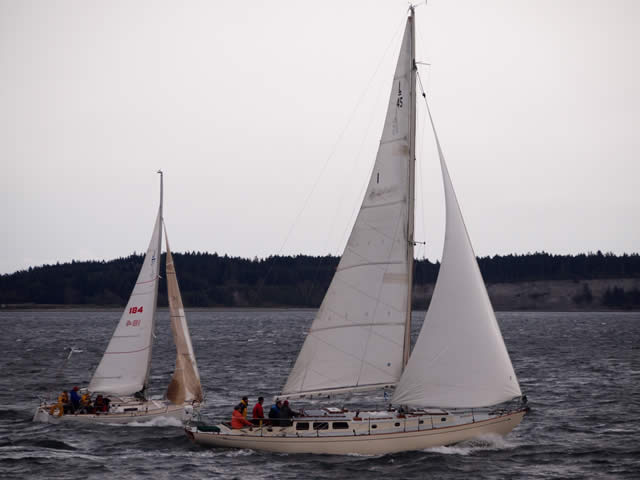 Good to see Ted Pike's ANNIE, TOO back on the water and in her element, good, strong pressure. Photo by Wendy Feltham