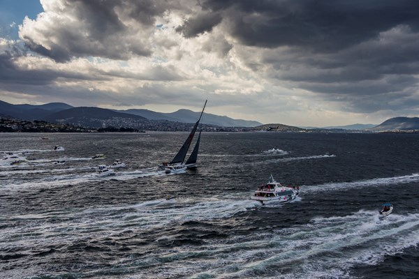 Sydney Hobart Line Honors winning WILD OATS finishes under double reef and small jib.