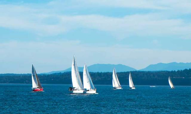 Summer Cat's Paw race 6, a lovely evening to go for a sail with tricky winds. Photo by Steve Stanton
