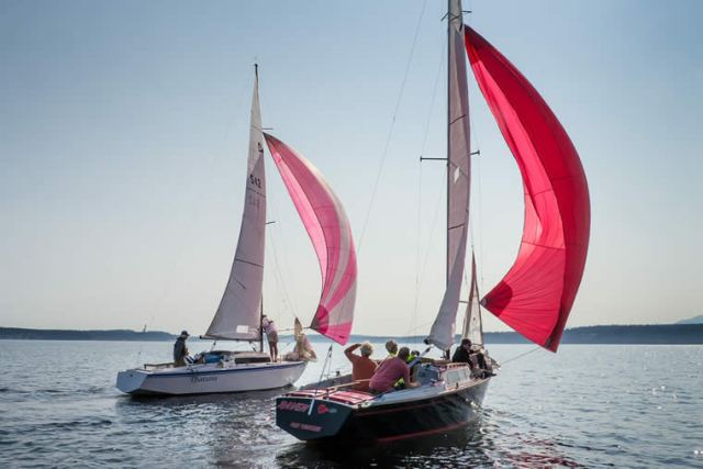 Tight racing as THATUNA and RAVEN reach off to the next mark. 2014 Night Cap Series, Race 2. Photo by Craig Wester