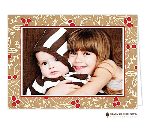 Burlap Pattern Holiday Folded Photo Card Stacy Claire Boyd