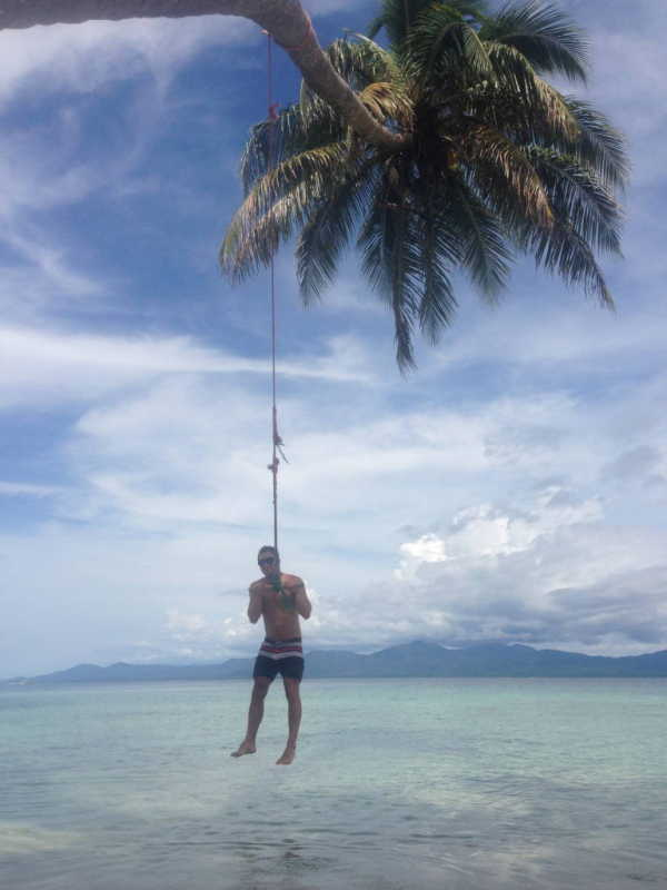 Swinging from a rope