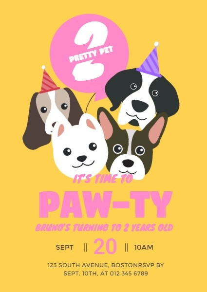 pet paw ty invitation template fotor