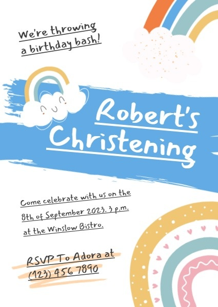 online kid christening birthday