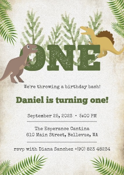 online green dinosaur birthday party