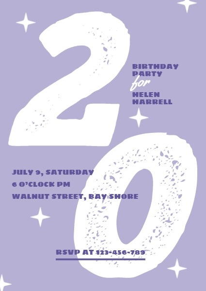 online purple 20 year old birthday