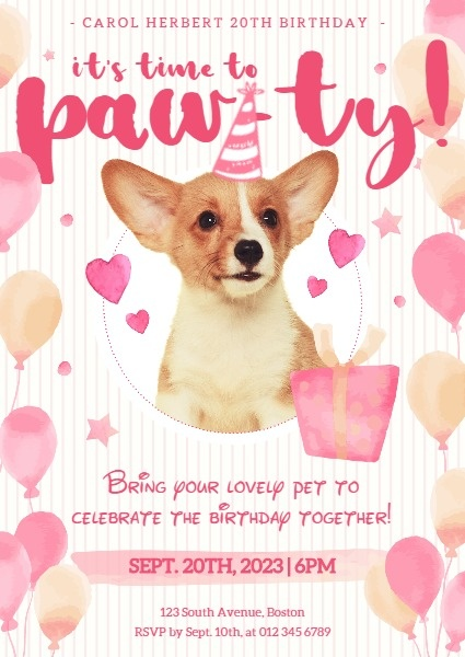 online pink dog birthday party