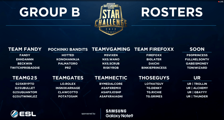 Group B PUBG Mobile STAR Tournament