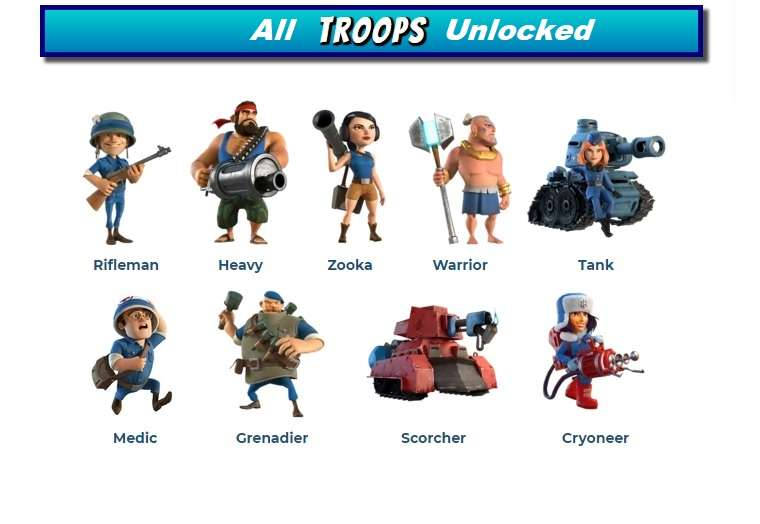 Boom Beach All Troops Unlocked