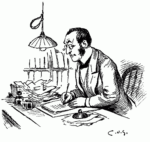 Man Writing at Desk