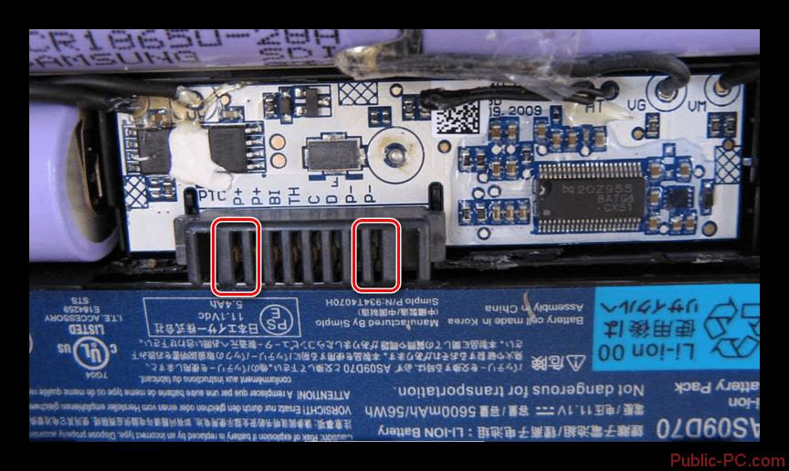Utilizzare il connettore sul controller dalla batteria del laptop