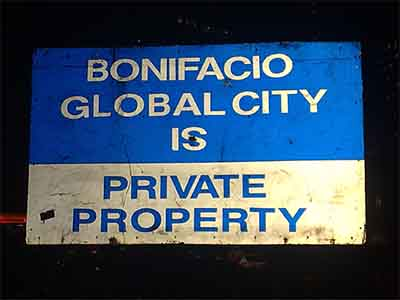 Bonifacio Global City is private property